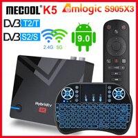 MECOOL-decodificador K5 DVB S2/T2/dispositivo de TV inteligente, Android 9,0, Amlogic S905X3, 100M, wi-fi 2,4 GHz/5 GHz, Bluetooth 4,2, 2GB, 16GB, PK K6 K7