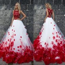 โบฮีเมียนดอกไม้สีขาวสีแดงลูกไม้งานแต่งงานชุดแต่งงาน 2 ชิ้นBeachชุดแต่งงานชุดเจ้าสาวโรแมนติกปุ่ม