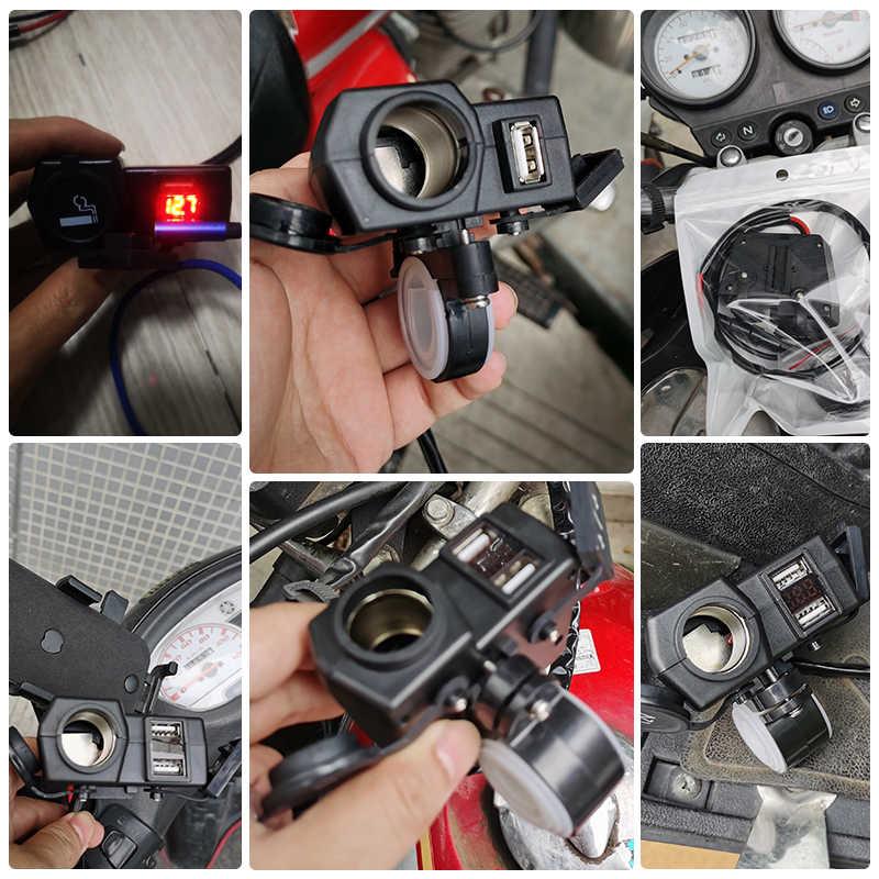 รถจักรยานยนต์USB 12V 5V Conerter SOCKET Chargerสำหรับโทรศัพท์มือถือQuick Charge 4.2Aแรงดันไฟฟ้าจอแสดงผลสวิทช์กันน้ำอะแดปเตอร์