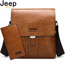 JEEP BULUO Brand Fashion Casual pu Leather Bags Mens Shoulder Bag Set Big Crossbody Business Messenger Bags For Man New Arrival