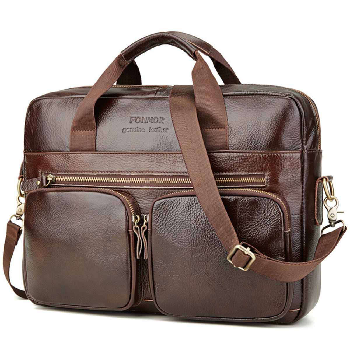 Genuine Leather Briefcase Men's Cowhide Leather Handbags Crossbody Bags Men's High Quality Laptop Business Messenger Bags New