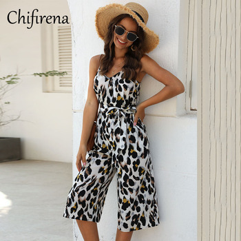 women sexy spaghetti strap sleeveless wide leg jumpsuit summer elegant solid casual rompers pockets playsuits loose overalls Chifirena Summer Leopard Jumpsuit Casual Wide Leg Spaghetti Strap Playsuit V-neck Elegant Rompers Pockets Casual Overalls Women