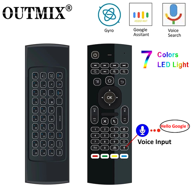 Controle remoto de voz mx3 MX3 L air mouse, 2.4g sem fios, teclado para x96 mini km9 a95x caixa de tv android h96 max