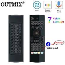 MX3 MX3 L Backlit Air Mouse T3 Smart Voice Afstandsbediening 2.4G Rf Draadloze Toetsenbord Voor X96 Mini KM9 A95X h96 Max Android Tv Box