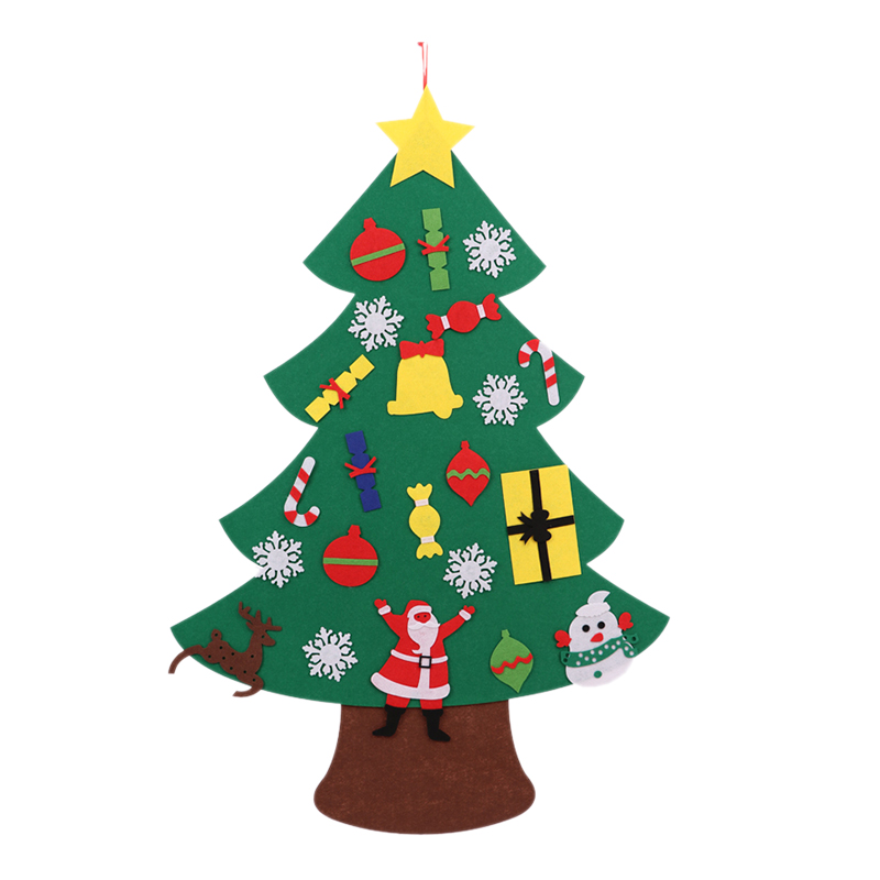 Power Felt Christmas Tree With Lovely Ornaments Door Wall Hanging Decoration New Year Christmas