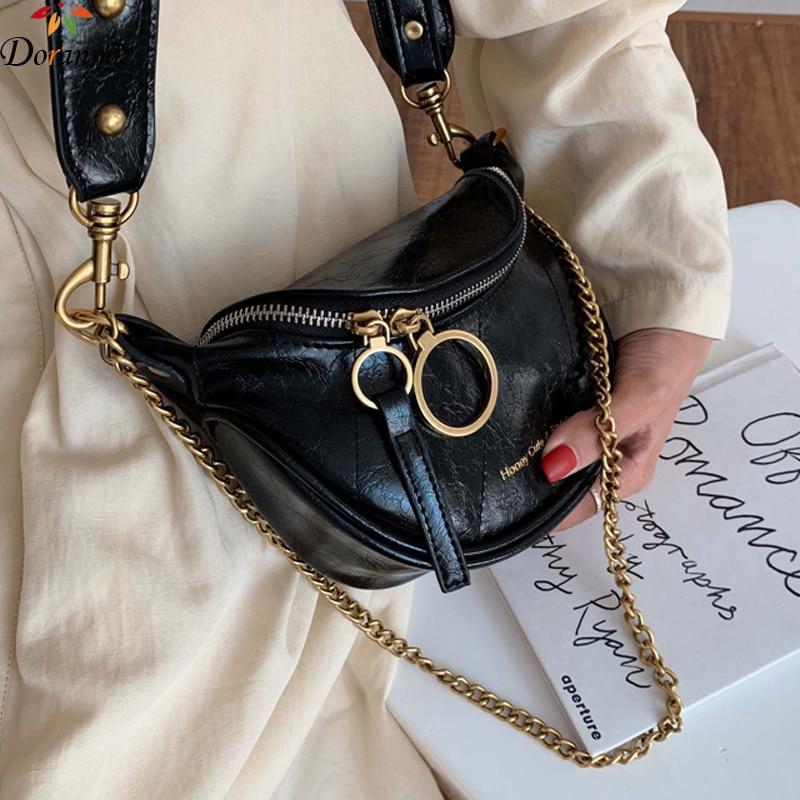 DORANMI Vintage Thread Waist Pack For Women 2019 Letter Printed Waist Pack Female Leather Crossbody Chest Bag Nerka BG077