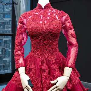 Image 3 - Muslim Wine Red Luxury Lace Wedding Dress Long Sleeve Beading Tiered Bridal Gowns 2020 Real Picture HA2340 Custom Made
