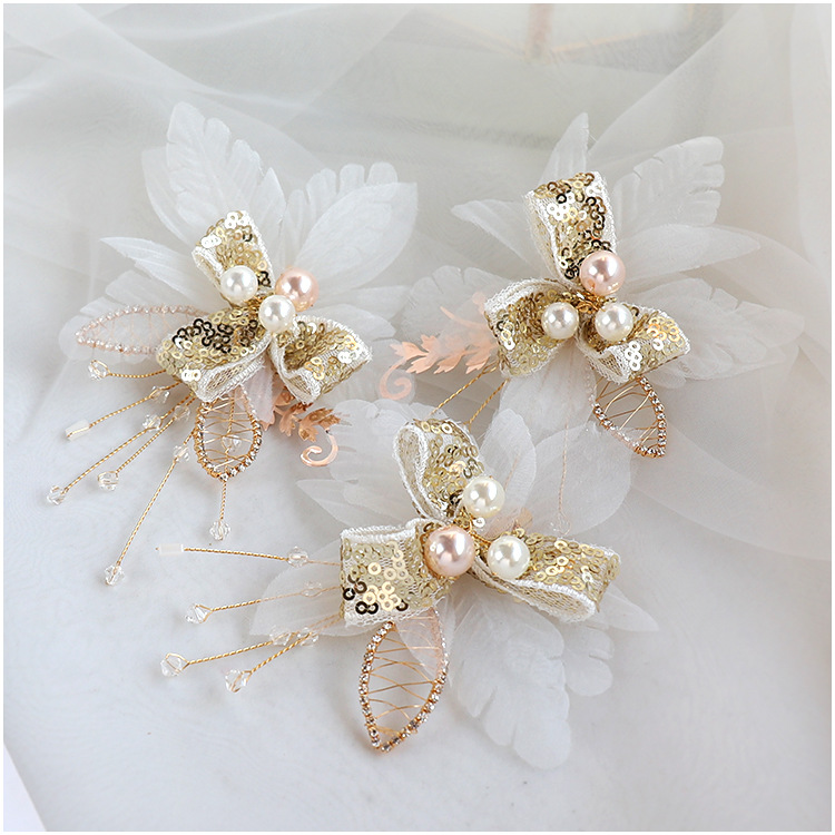 Golden Shiny barrettes Super Fairy Bridal Headwear women headdress Wedding Hair Accessories