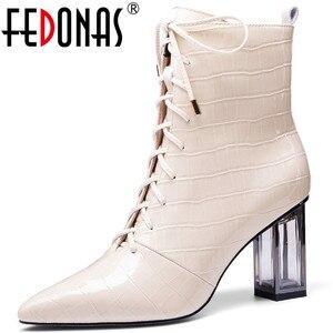 Женские ботильоны из натуральной кожи FEDONAS, Элегантные ботильоны на высоком каблуке с боковой молнией, вечерние ботильоны