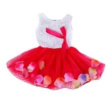 цена Baby Girls Dress Kids Princess Sleeveless Lace Bow Flower Cute Girls Dresses for Toddler vestido infantil платья для девочек онлайн в 2017 году