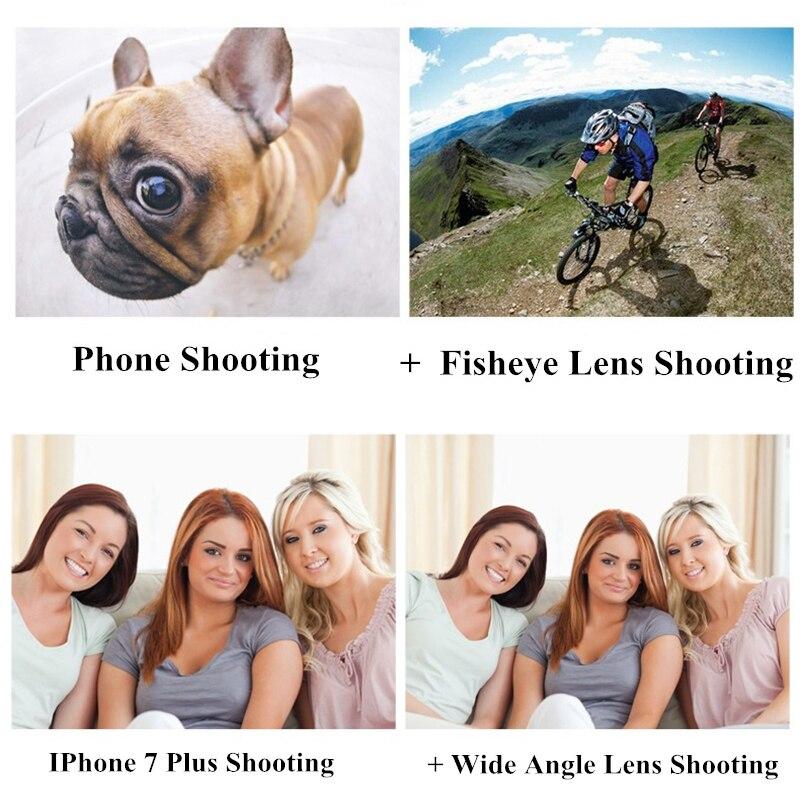 4 en 1 Kit de lente de cámara de teléfono sin distorsión Objetivo Macro de gran angular de ojo de pez con Clips Lentes para la mayoría de Smartphones - 6