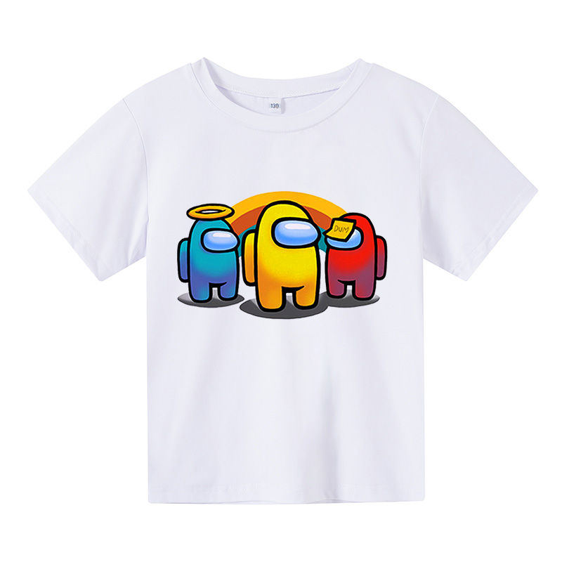 Cartoon Among Us 4-16 years old Baby Kids Boy Girl Children amoung us T Shirt Short Sleeves Summer Clothing Print anime clothes