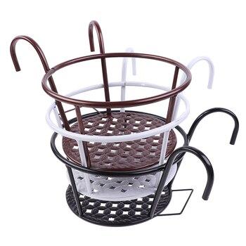Suministros de jardín cesta colgante para exteriores, bastidores de hierro para plantas, valla, balcón, maceta redonda para flores, decoración, 1 ud.