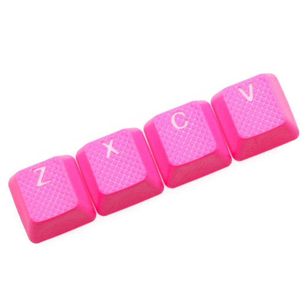 Taihao Rubber Gaming Keycap Set Rubberized Doubleshot Cherry MX OEM Profile 4 Key Zxcv Magenta Light Blue Neon Yellow Neon Green