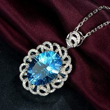 Natural Oval Sapphire Pendant For Women 925 Sterling Silver Zircon Diamond Pendant Necklace Blue Topaz Gemstone Fine Jewelry(China)