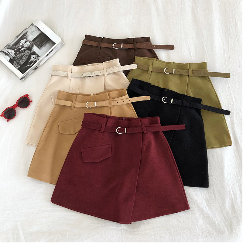 2020 Spring Summer Short Feminino High Waist With Sashes Vintage Irregular Short Pants Women Casual Loose Black Skirt Shorts Muj
