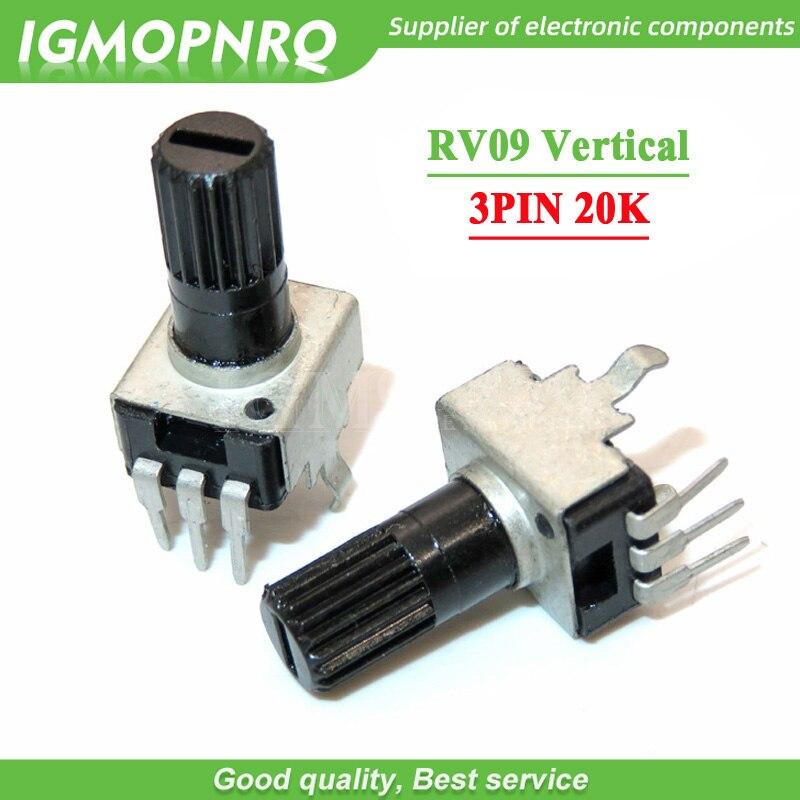 10 шт. RV09 длина вертикальной ручки 12,5 мм 20K 0932 Регулируемое сопротивление 3Pin B203 герметичный поворотный потенциометр
