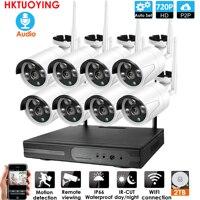 Подключи и играй 8-канальный аудио 1080P HD Беспроводной NVR комплект P2P 720P Крытый Открытый Ночное Видение безопасности 1.0MP IP камера wifi CCTV система