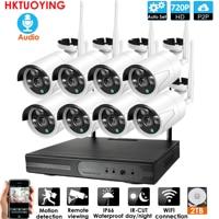 Plug and Play 8CH Audio 1080P HD bezprzewodowy zestaw monitoringu nvr P2P 720P kryty odkryty noktowizor bezpieczeństwo 1.0MP kamera IP WIFI system cctv w Systemy nadzoru od Bezpieczeństwo i ochrona na