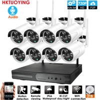 Plug and Play 8CH Audio 1080P HD Wireless NVR Kit P2P 720P Indoor Outdoor Night Vision Security 1.0MP IP Camera WIFI CCTV System