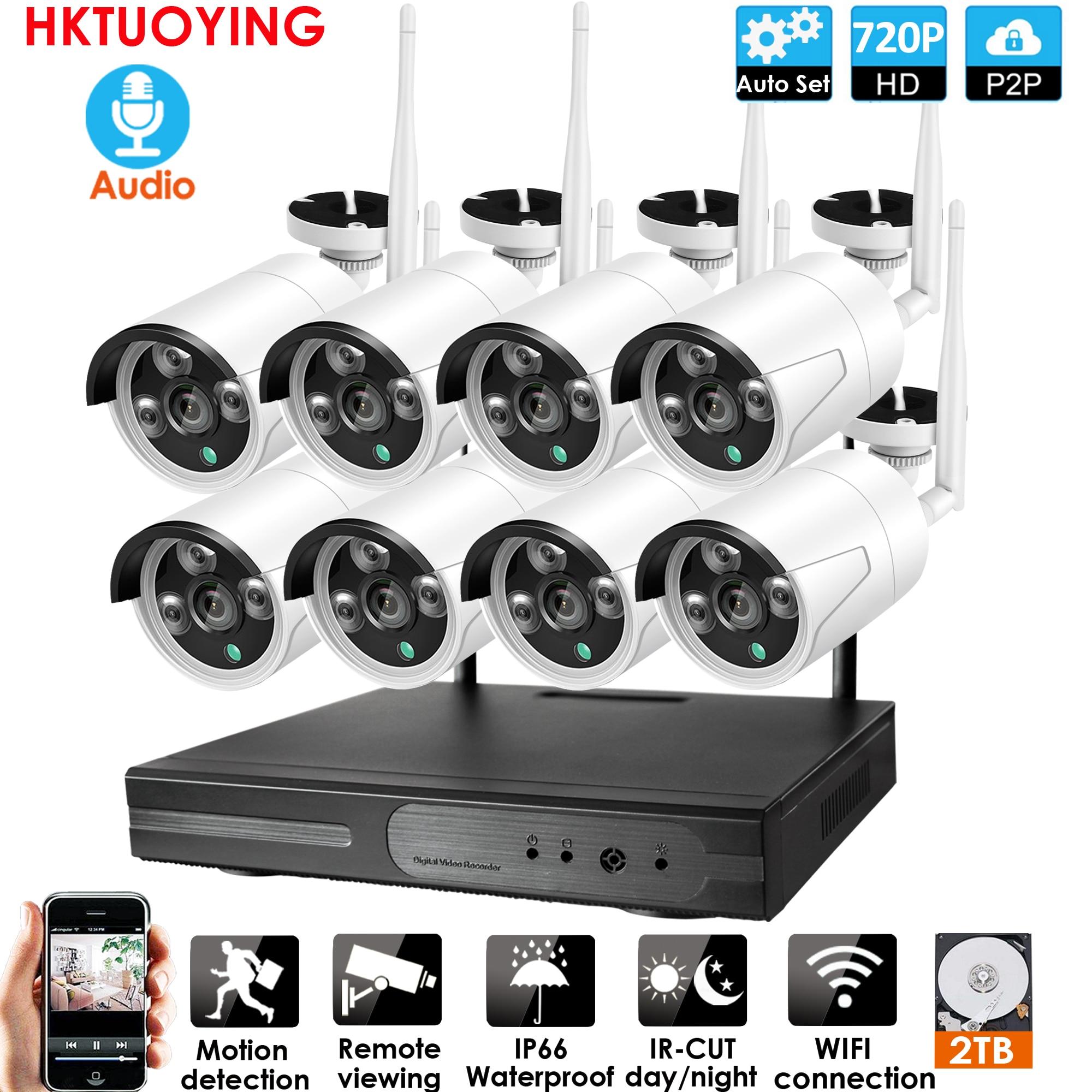 Plug and play 8ch áudio 1080 p hd sem fio nvr kit p2p 720 p indoor ao ar livre visão noturna segurança 1.0mp ip câmera wi-fi sistema de cctv