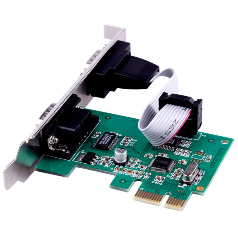 PCIe Serial Expansion Card 2 Port RS232 Com Serial Port PCI Express Converter Adapter Transmission Rate 1Mbps