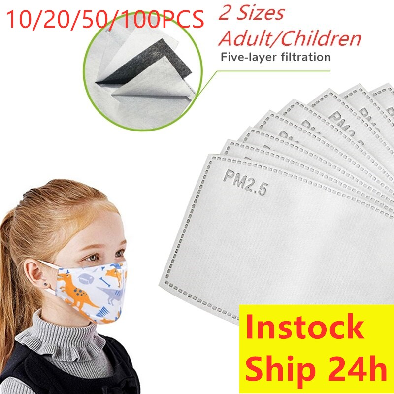 Face Mask Filter Dustproof Anti Gas PM2.5 Carbon Adult Kids Children Mask Filters Pad N95 KF94 Ffp2 All Respirator Disposable