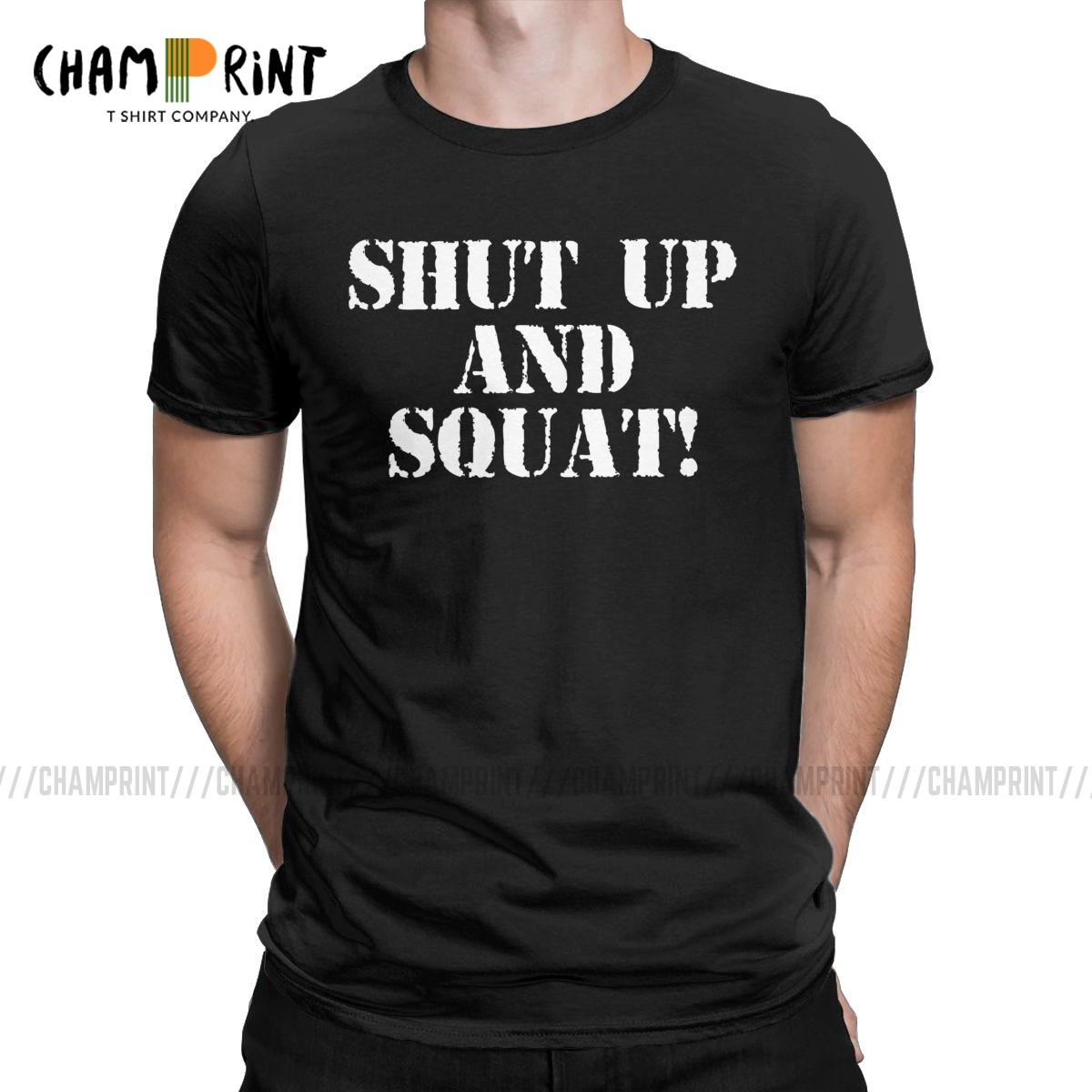 Men T-Shirts Shut Up And Squat Novelty Tees Short Sleeve Gym Fit Fitness Bodybuilding T Shirts Crewneck Clothes Printed