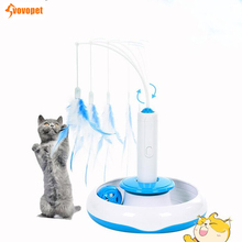 VOVOPET Funny electric rotating cat toy with Feather Detachable Interactive automatic kitten Pet Cat Teaser