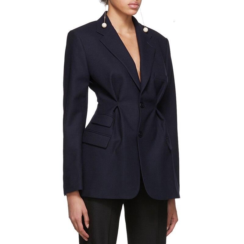 New 2020 Autumn Women Blazer Coat Streetwear Tunic High Waisted Long Sleeve Black Pink Female  Fashion Clothing