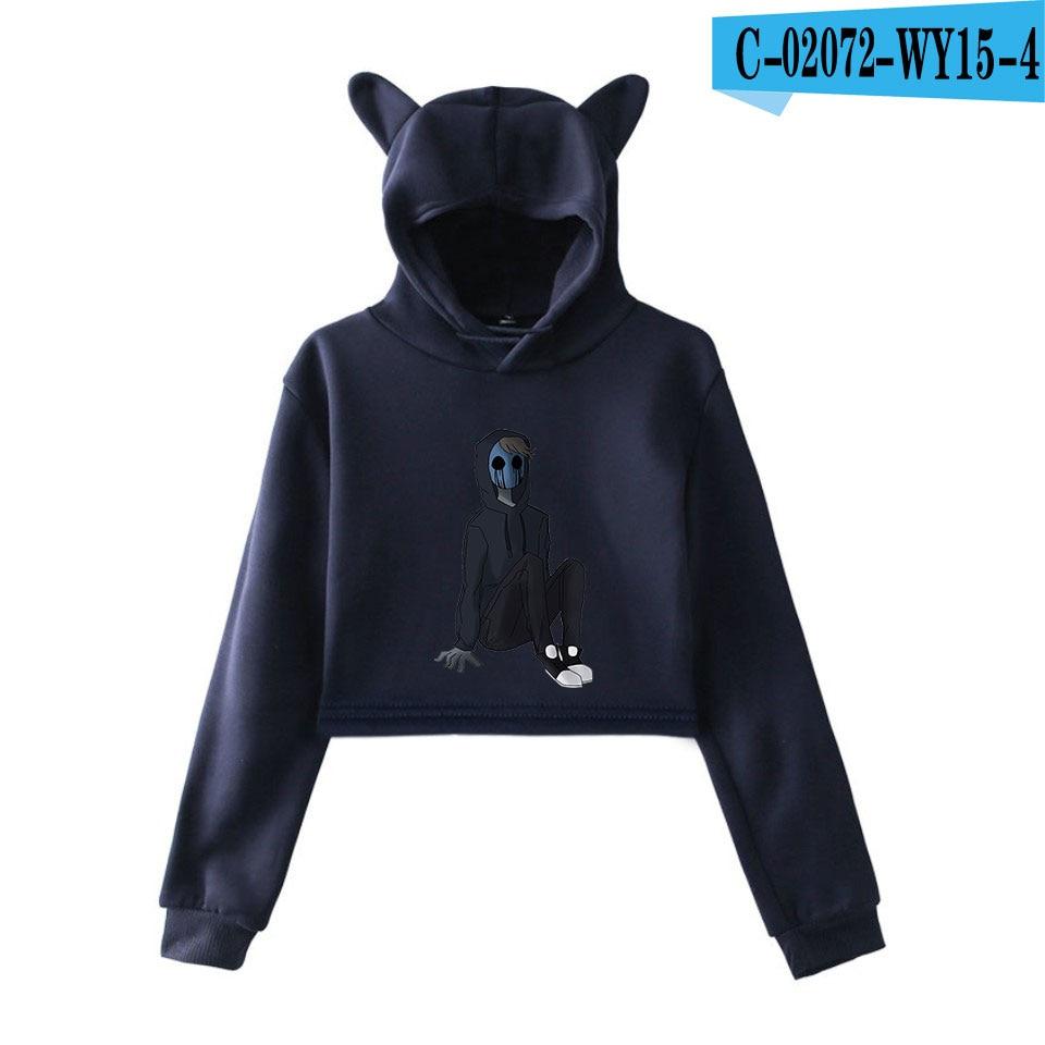 unique horror atmosphere of black humor creepypasta  print fashion trend Cat ears Top Women Hoodies Sweatshirt Sexy clothes 14
