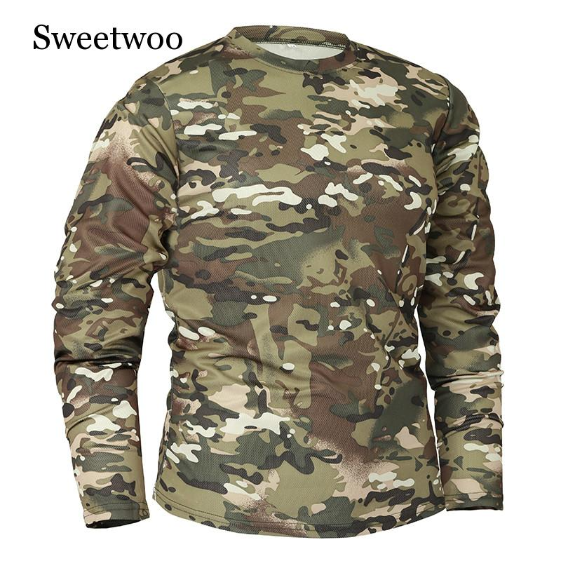 Outdoor Clothing New Autumn Spring Men Long Sleeve Tactical Camouflage T shirt Camisa Masculina Quick Dry Military Army Shirt in Running T Shirts from Sports Entertainment