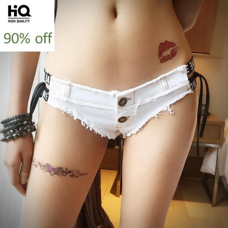 2020 New Hot Sale Fashion Women Streetwear Fur Trim Low Waist Skinny Shorts Female Jeans Denim Multi Color Lace Up White Black