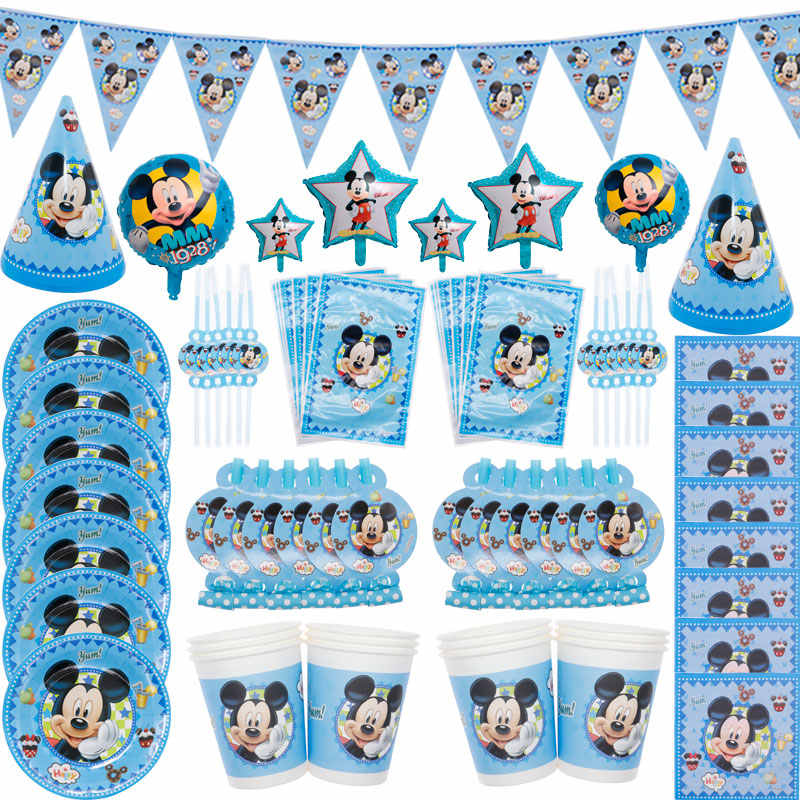Cartoon Disney Mickey Party Decoration Party Supplies Disposable Tableware Plate Gift Bag Birthday Christmas Supplies