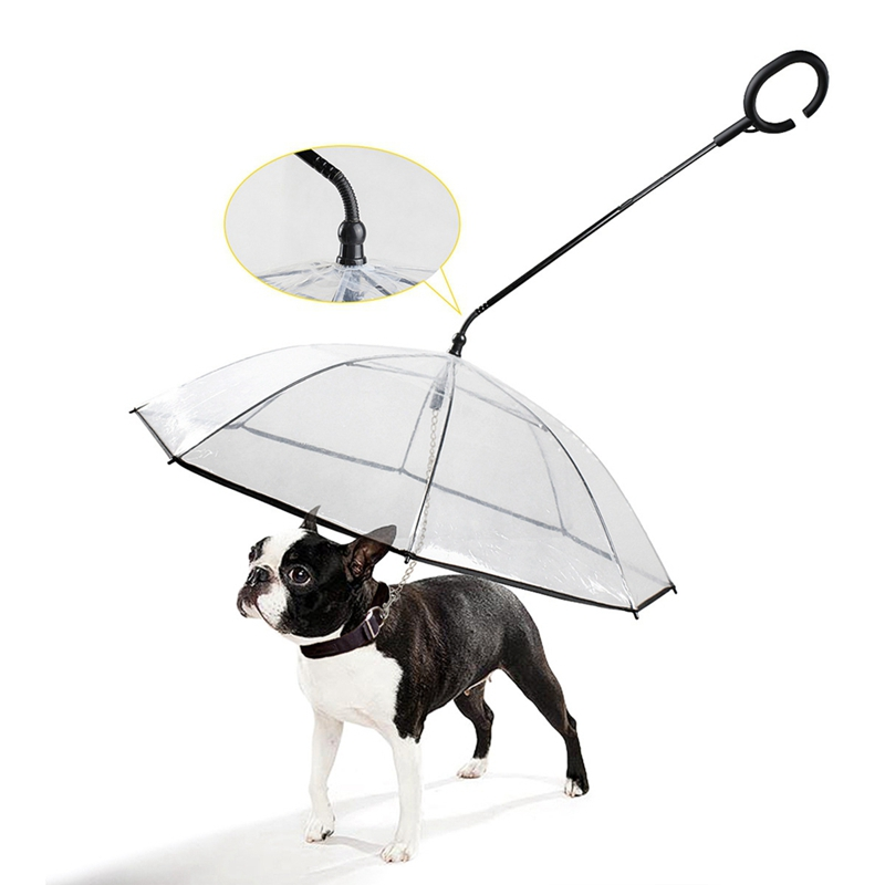 Rain Gear With Dog Leads Useful Transparent PE Pet Umbrella Small Dog Umbrella Keeps Pet Dry Comfortable In Rain Snowing