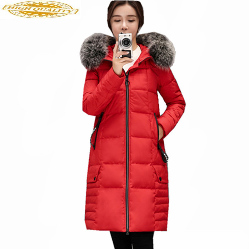 Real Fox Fur Collar Winter Jacket Women Thick Coat Female White Duck Down Jackets Long Parka Maxi Size 5XL Abrigo WXF453