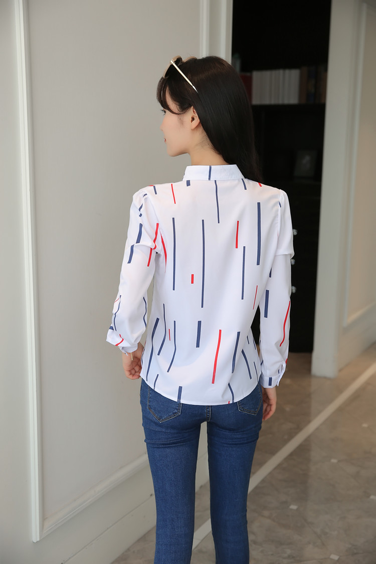 H2e3410aa44f146d692f4ee180509f3e2A - Women Fashion White Tops and Blouses Stripe Print Design Casual Long Sleeve Office Lady Work Formal Shirts Female Plus Size