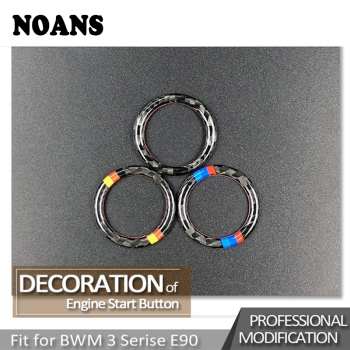 NOANS For BMW 3 Series E90 E92 E93 Z4 E89 Car Styling Stickers Carbon Fiber Center Console Start Stop Engine Ignition Key Rings image