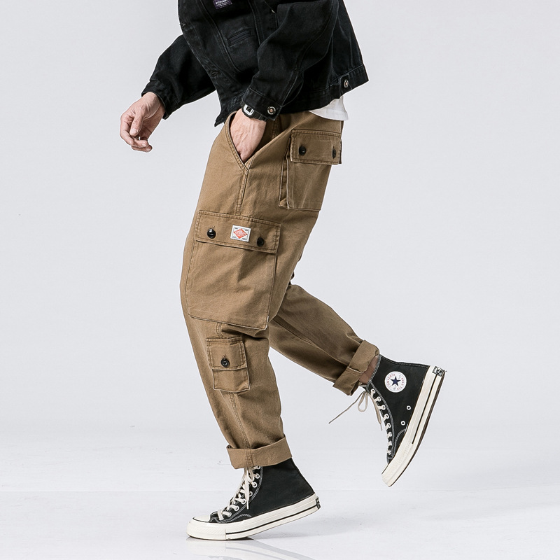 Autumn And Winter Japanese-style Retro MEN'S Trousers American Leisure Pocket Bib Overall Street Skateboard Loose-Fit Flare Cut
