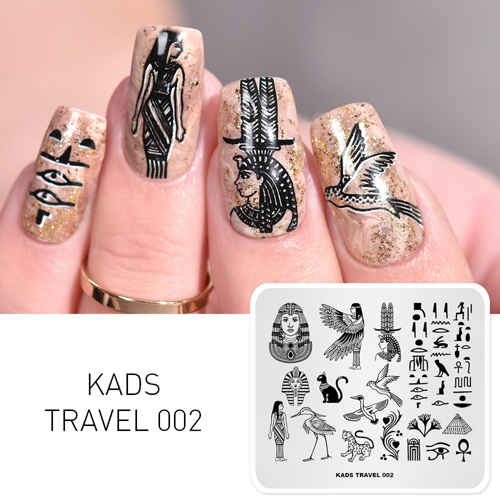 KADS 7 Different Design Travel Series International Style Nail Art Stamping Template Nail Art Stencil Nail Stamping Tools