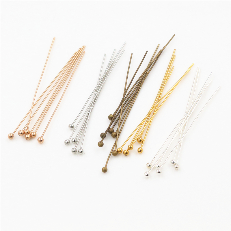 200pcs/lot 16 20 25 30 40 45 50mm Gold Silver Metal Ball Head Pins For Diy Jewelry Making Head Pins Findings Dia 0.5mm Supplies