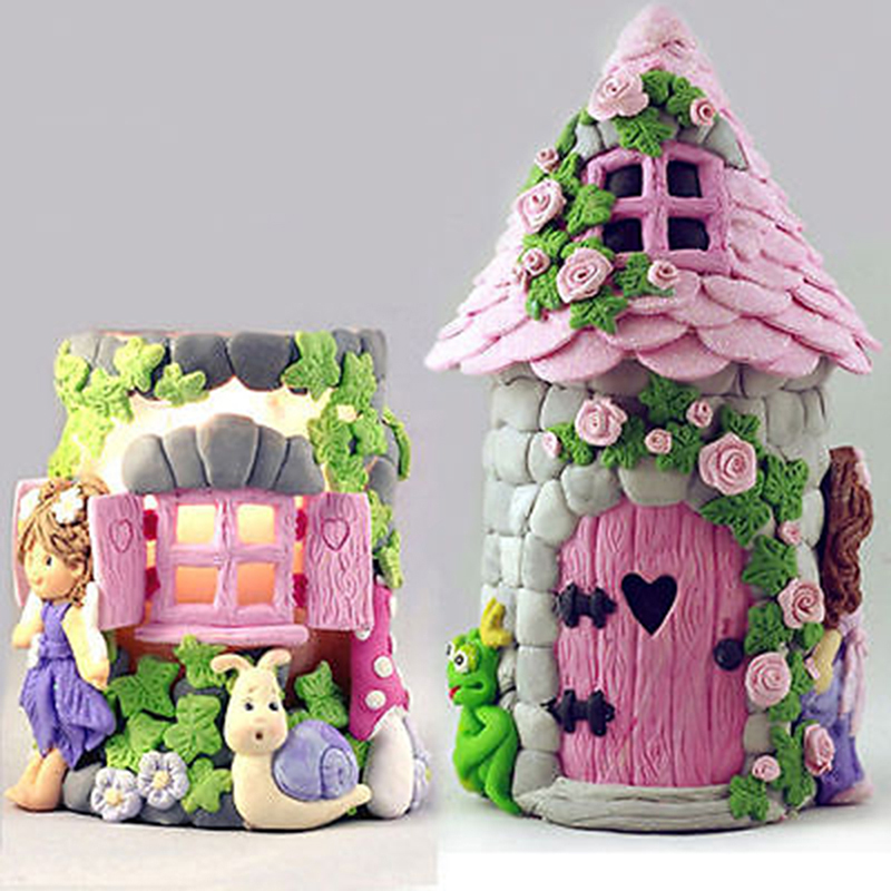 1pc Vintage Fairy Garden House Wall Silicone Chocolate Fondant Molds Craft Polymer Clay Cake Decorating Tools