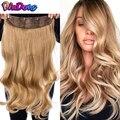 Grampo de dindong em extensões de cabelo sintético ondulado 24 polegada 190g premium resistente ao calor do cabelo 613 # louro marrom 19 cores disponíveis
