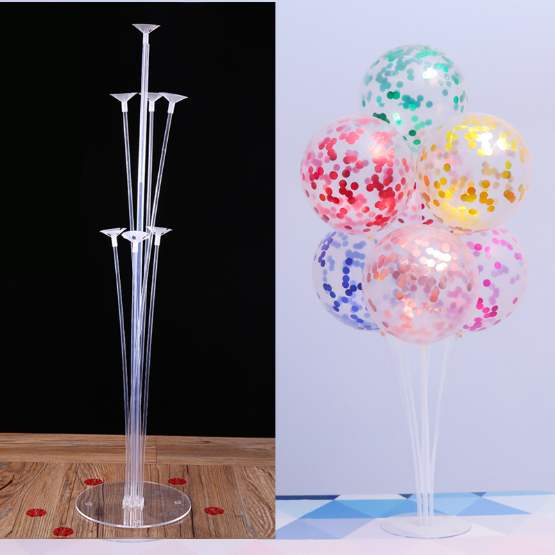 <font><b>7</b></font> <font><b>Tubes</b></font> <font><b>Balloons</b></font> <font><b>Stand</b></font> <font><b>Balloon</b></font> <font><b>Holder</b></font> Column Confetti <font><b>Balloon</b></font> Baby Shower Kids Birthday Party Wedding Decoration Supplies image