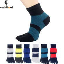 VERIDICAL 5 pairs/lot male toes socks compression Combed cotton striped Five Fi