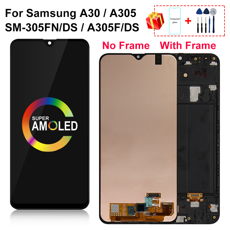 AMOLED For <font><b>Samsung</b></font> galaxy <font><b>A30</b></font> <font><b>LCD</b></font> A305/DS A305F A305FD A305A Display with frame Touch <font><b>Screen</b></font> Digitizer Assembly Part image