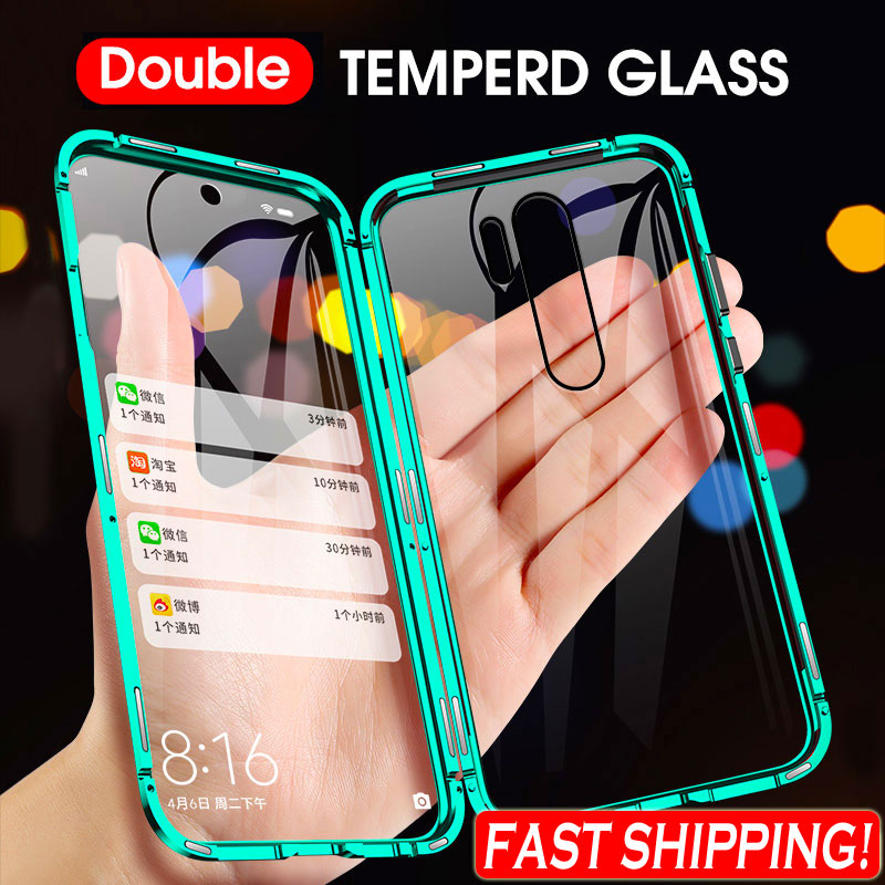 360 Metal Magnetic Case For Xiaomi Redmi Note 9 Pro 9S 8 7 Pro Redmi 8 8A K20 K30 Mi 9T 10 Pro Double Sided Tempered Glass Cover