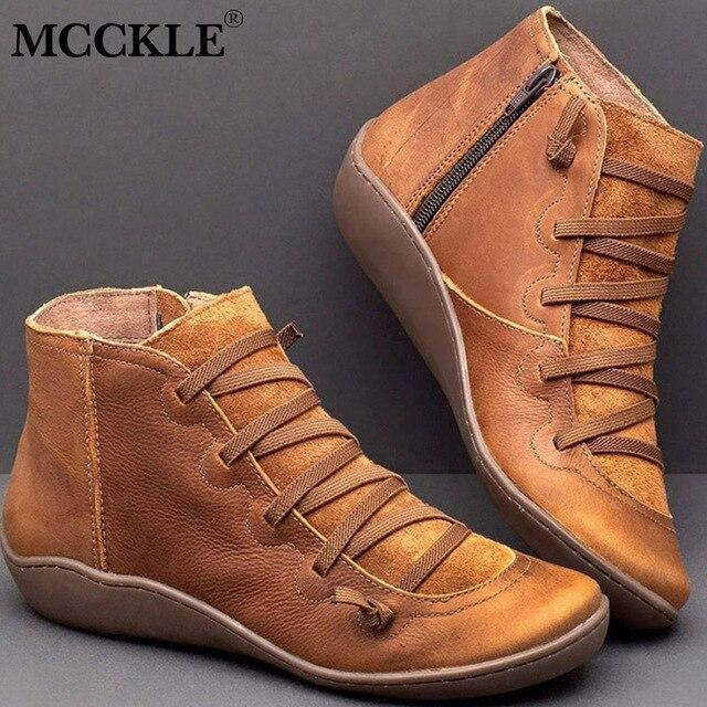 מגפי קרסול עור PU לנשים סתיו חורף צלב רצועות בציר נשים פאנק מגפיים שטוחות נעלי גבירותיי אישה Botas Mujer