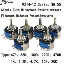 10 ADET DIY HIFI Tek Dönüş Wirewound Potansiyometre WX14 12 3W 47R 56R 100R 220R 470R 1K 2.2K 4.7K 10K 20K 5% Filament Denge