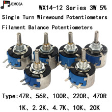 10PCS DIY HIFI Single Turn Draadgewonden Potentiometers WX14 12 3W 47R 56R 100R 220R 470R 1K 2.2K 4.7K 10K 20K 5% Filament Balans